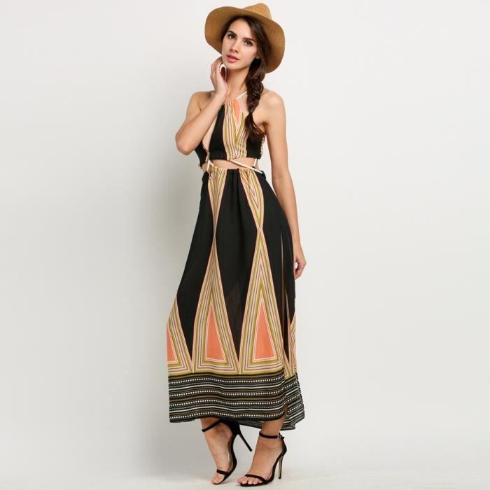 Robe femme Finejo longue Bohème licol découpe dos nu côté fente impression
