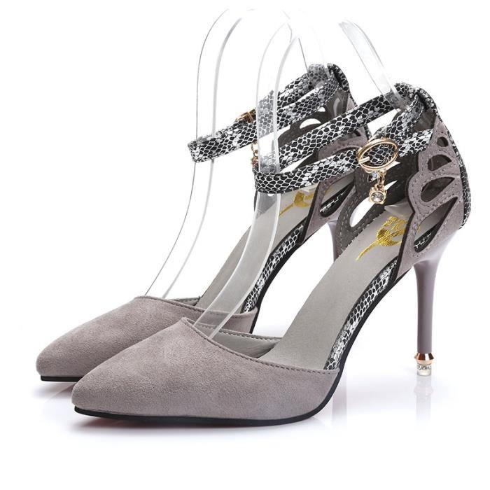 Open talons des 40 de femmes Femme élégantes Noir New gris Toe Nice minces Chaussures Intention Mode sandales Sandales FXzUwSUq