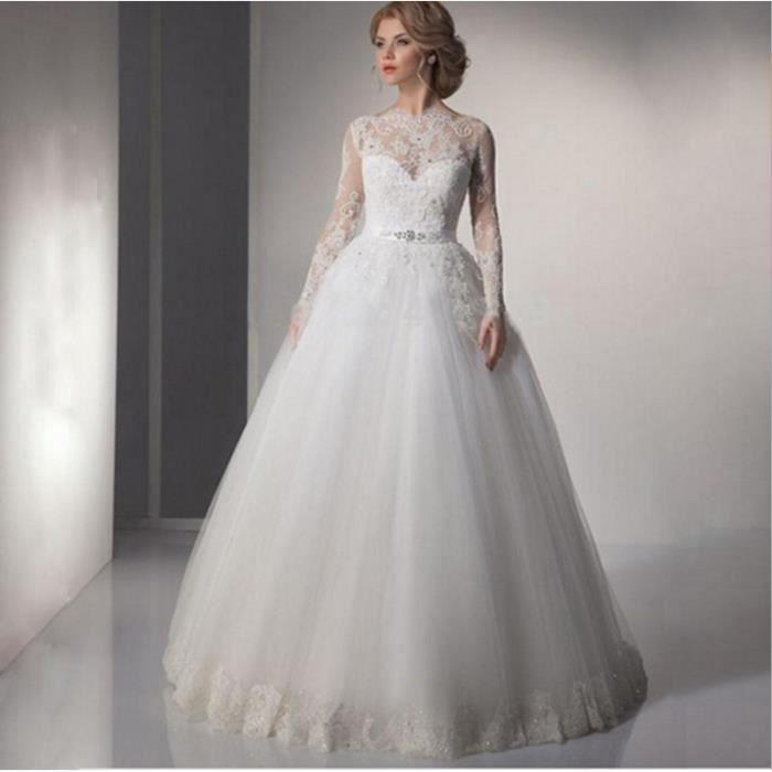 HUIXIN®Robe de mariée à manches longues mariée princesse dentelle mariage  blanc queue robe de mariée