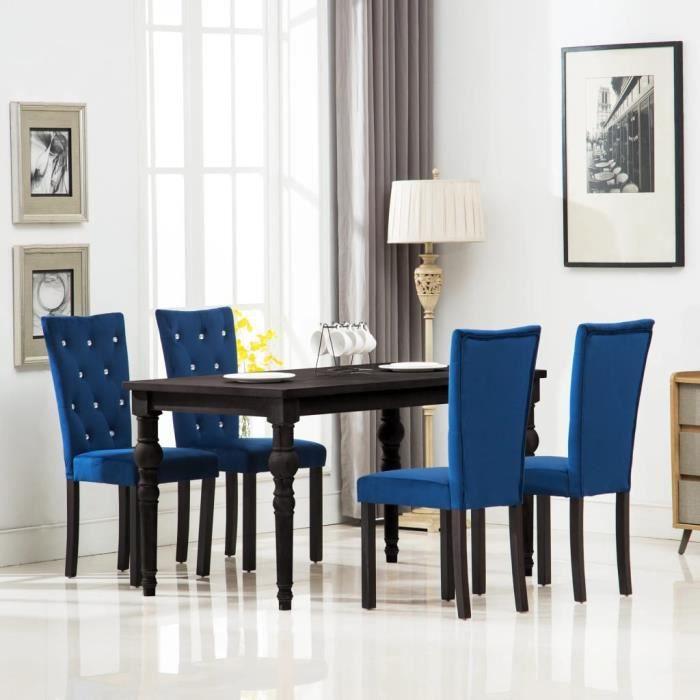 Lot De Chaises De Salle A Manger Style Contemporain Scandinave Chaise Cuisine 4 Pcs Velours Bleu Fonce