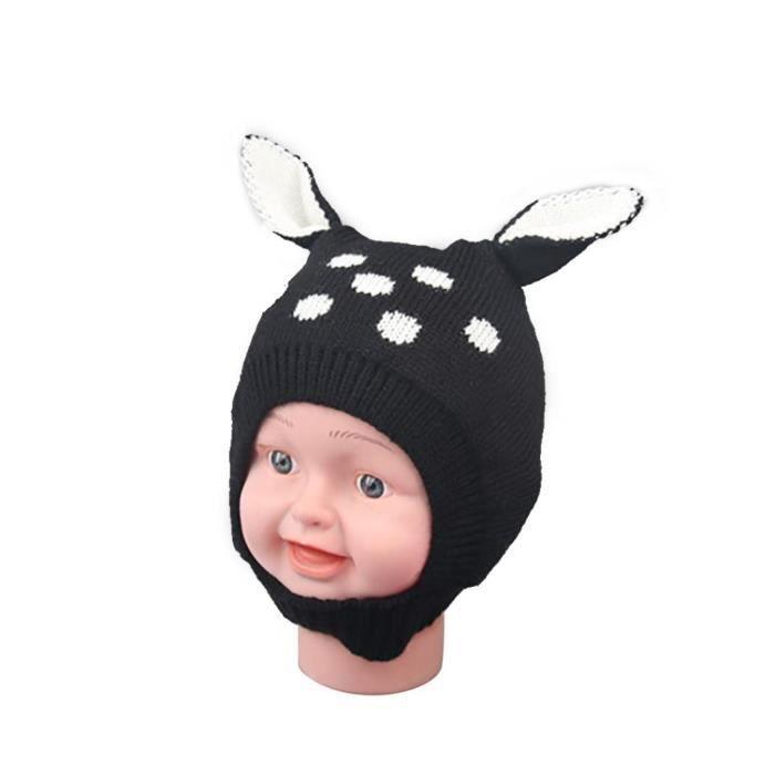 927f2285000f3 Hiver Bébé Garçon Fille Bonnet Chaud Chaud Mignon Lapin Oreille Tout-petit  Tricoté Bonnet Cadeau Noir