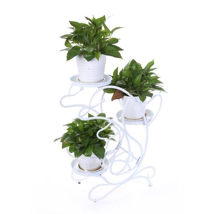Porte Pots Jardin Blanc 3 Niveaux Support Fleurs Plantes Dauphin Etagère  Pour pot de fleur plante Hauteur 69cm