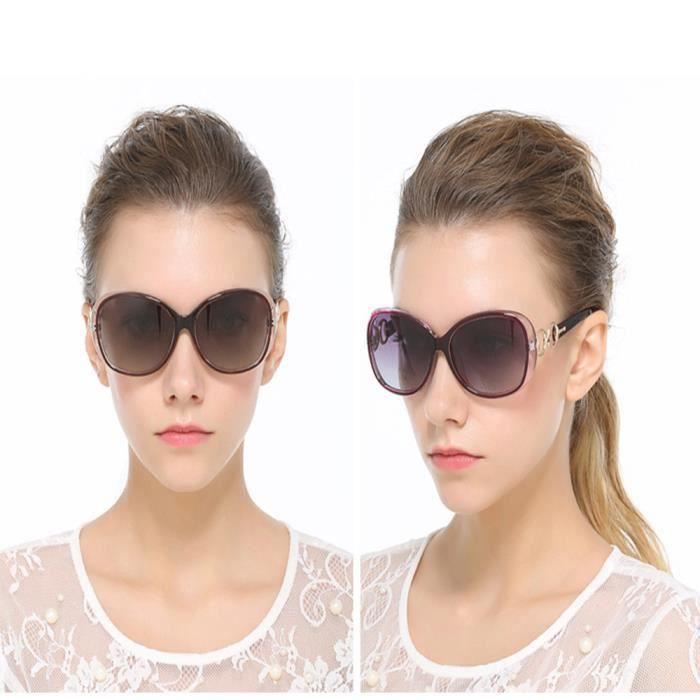 Lunettes de soleil femme polarisées de Fashion en Moderne Armature de sunglasses marque de Luxe Noir