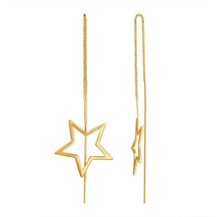 Plaqué or Femmes Enfile Dangle Boucles doreilles longues Chaîne étoile Boucles doreilles pour Aier 820 NS51W
