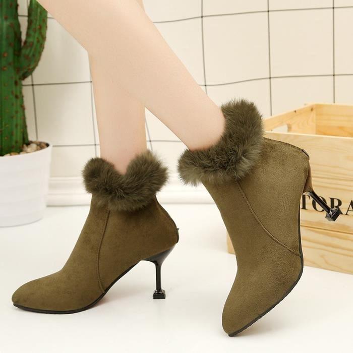 Mode femme Bottes hiver femme Bottes de neige en peluche cheville Flock Zip chaud Chaussures à talons hauts,noir,40
