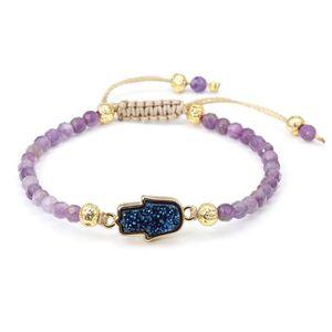 BRACELET - GOURMETTE Bracelet En Améthyste Surface Coupée+Perle De Lave