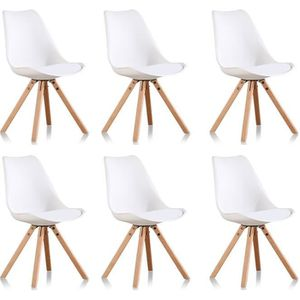 CHAISE Lot de 6 chaises blanches scandinaves - Helsinki