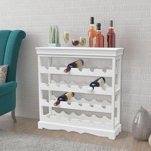 meuble range bouteille vidaxl casier bouteilles abreu blanc