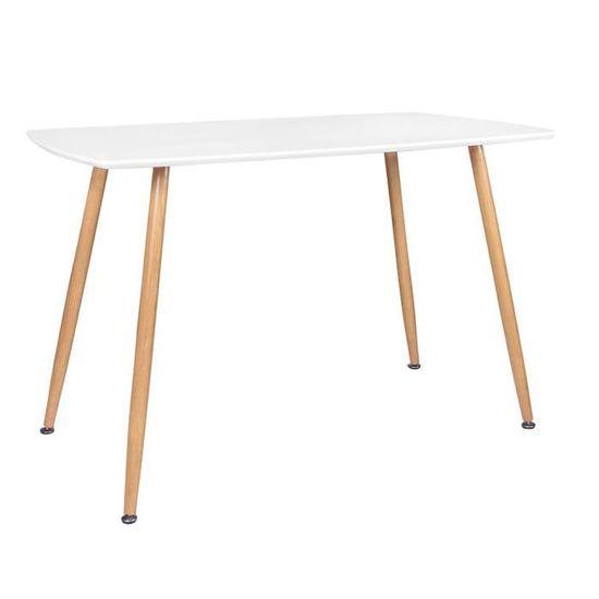 Superbe Table Salle À Manger STOCKHOLM L120xL80xH75cm BLANC