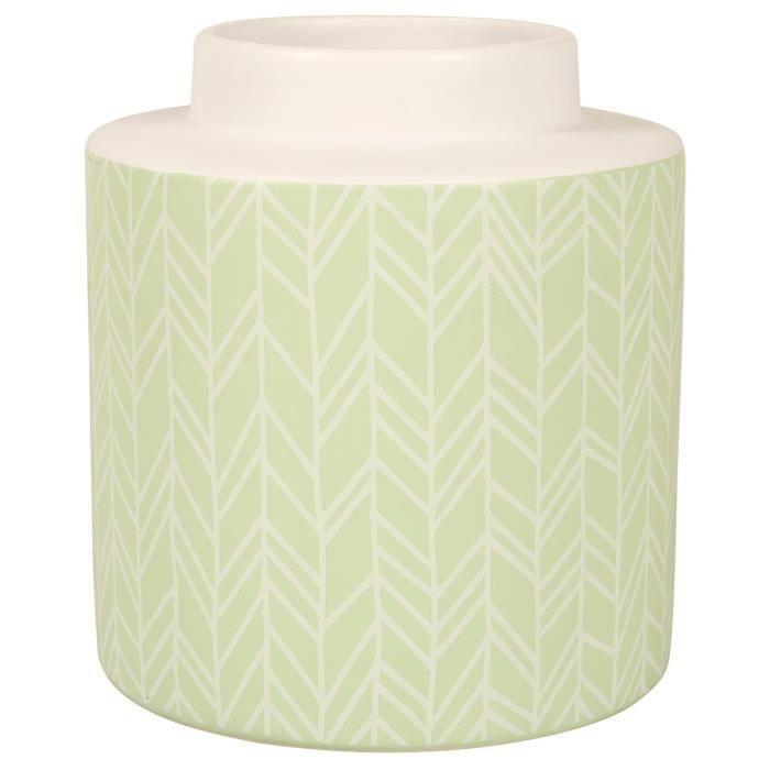 Vase cylindrique Chevrons - Dimensions : Ø 15,5 x H 17,5 cm - Matière : céramique - Couleur : vertVASE - SOLIFLORE