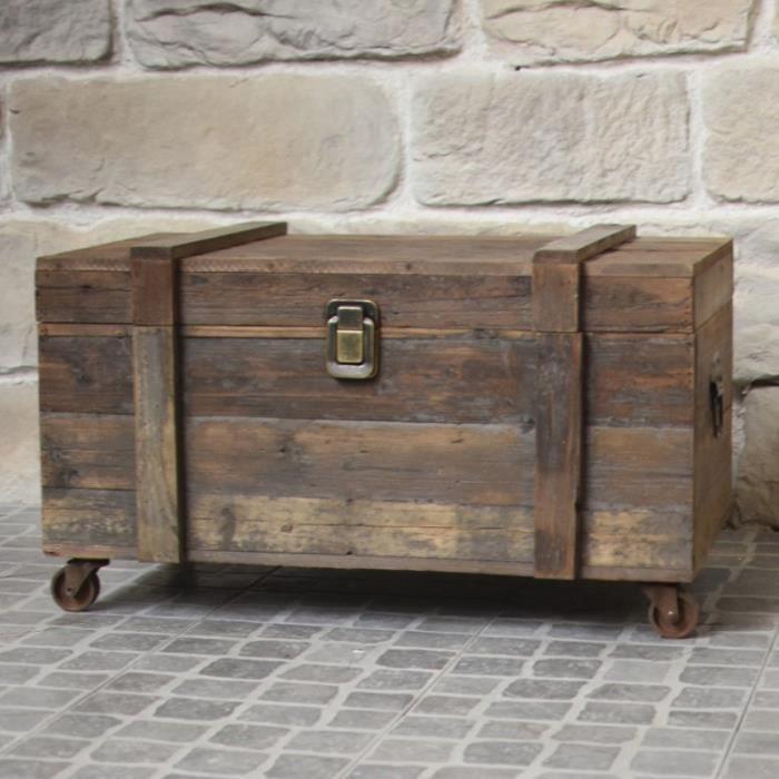 COFFRE - MALLE Style Ancien Coffre à Roulettes Malle en Bois de R