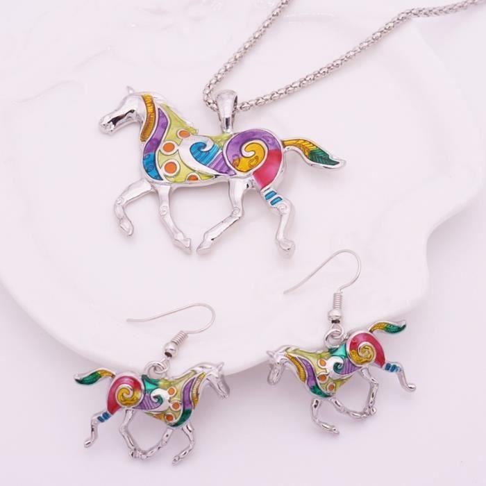 parure cheval émail multicolore argent platine