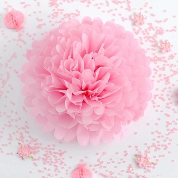 Pompon deco salle papier de soie Rose   Couleur:Rose Diamètre:30 c