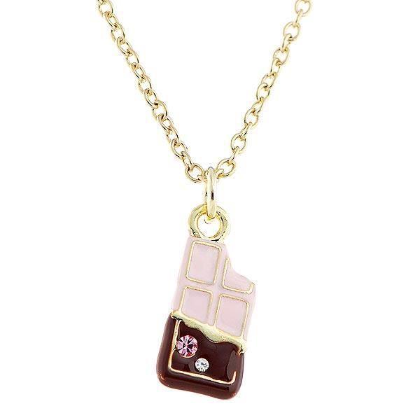 Glistering Fraise Barre De Chocolat Pendentif Avec Cz Et Collier Rose Et Argent (3002)