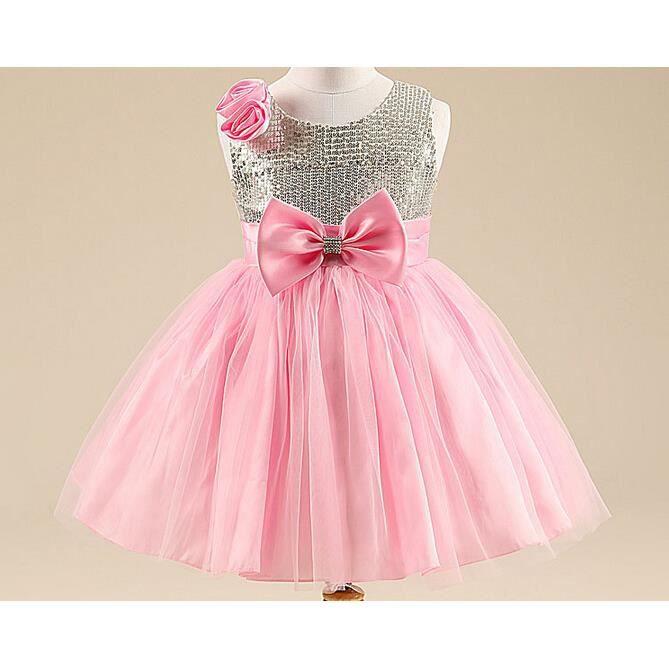 6f56104c327ef Enfant fille mariage robe fête mousseline cérémonie fleurs princesse robe  rose
