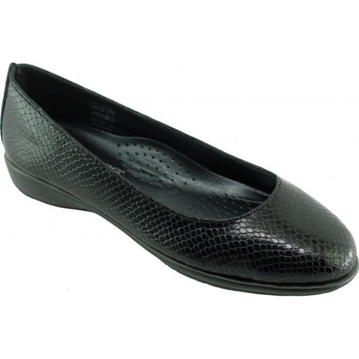 Dance lézard - Ballerine ultra souple et flexible chaussures femme confortable pieds sensibles marque Aéro cuir noir