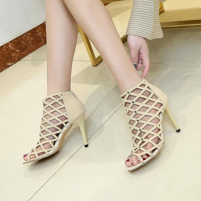 Hotskynie®mode Femmes Peep Toe talons hauts rivet romain gladiateur sandales Beige*SJF71229735BG