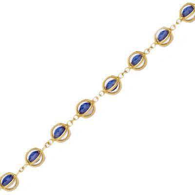 Bracelet 18+4 cm Boules Zircon Bleu Cage Plaqué Or