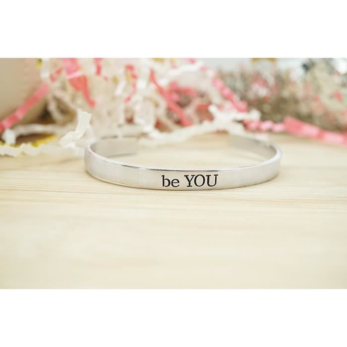 Womens Be You Hand Stamped Cuff Bracelet TRBW5