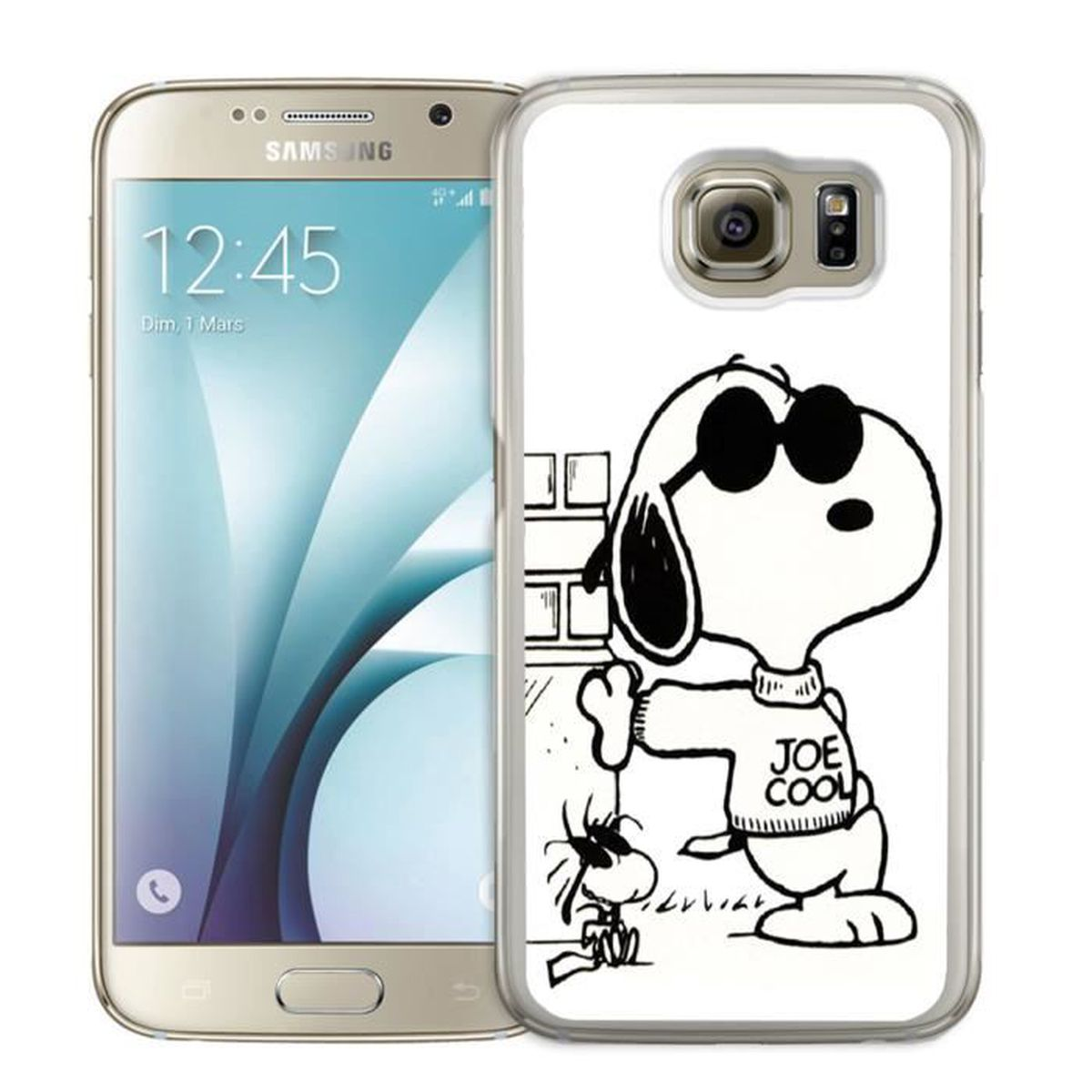 coque samsung galaxy s7 edge snoopy noir et blanc. Black Bedroom Furniture Sets. Home Design Ideas