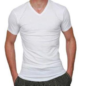 T-SHIRT Lot de 6 T-Shirt Col V Blanc 100% Coton Taille f738592c69fb