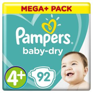 COUCHE Pampers Baby-Dry Taille 4+, 10-15kg, 92 Couches -
