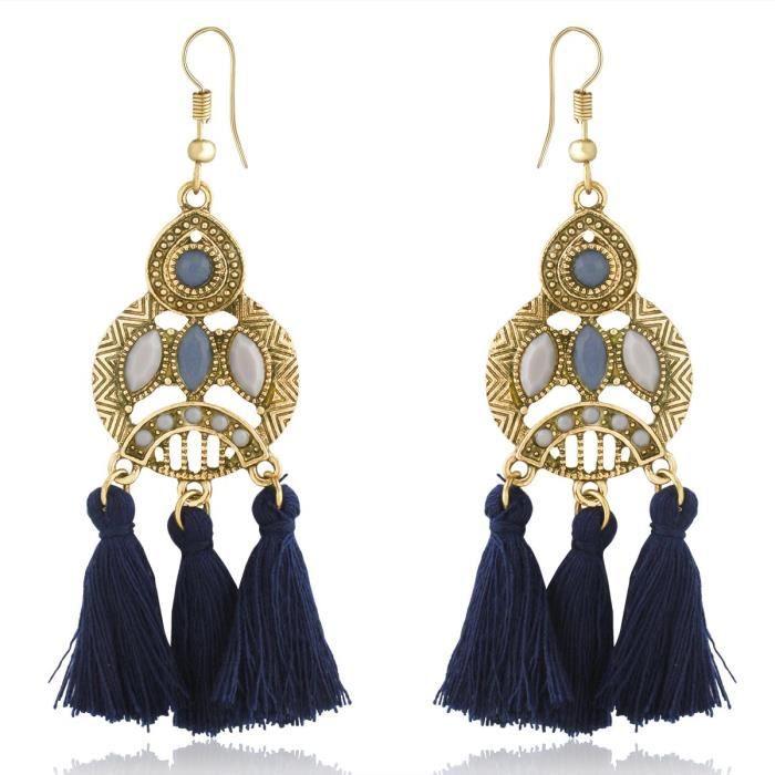 Style de perles bleues indiennes Olen longues Glands Dangle Boucles doreilles de femmes pour 907 Aier T9VRK