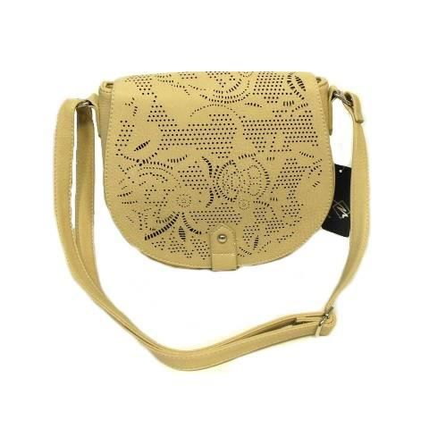 SAC BANDOULIERE FEMME BEIGE FACON CUIR PERFORE