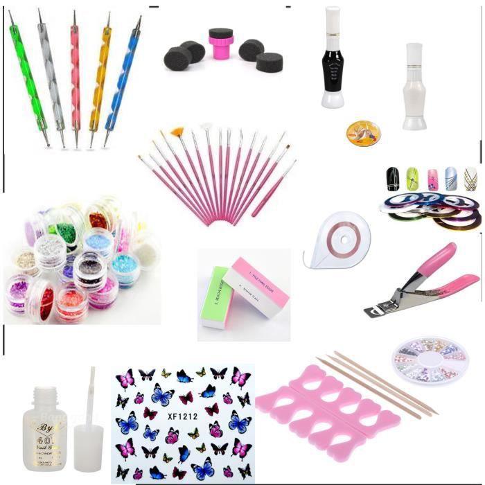 COFFRET DE MANUCURE Kit accessoires et decorations manucure