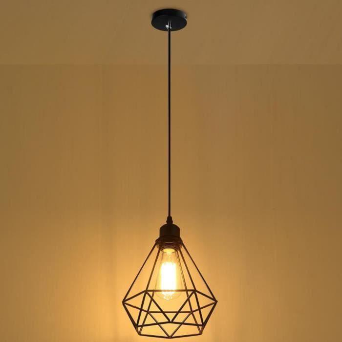 20 E27 Noir 5cm Suspension Lampe Lustre Métal Luminaire Industrielle Uni kPwOn0
