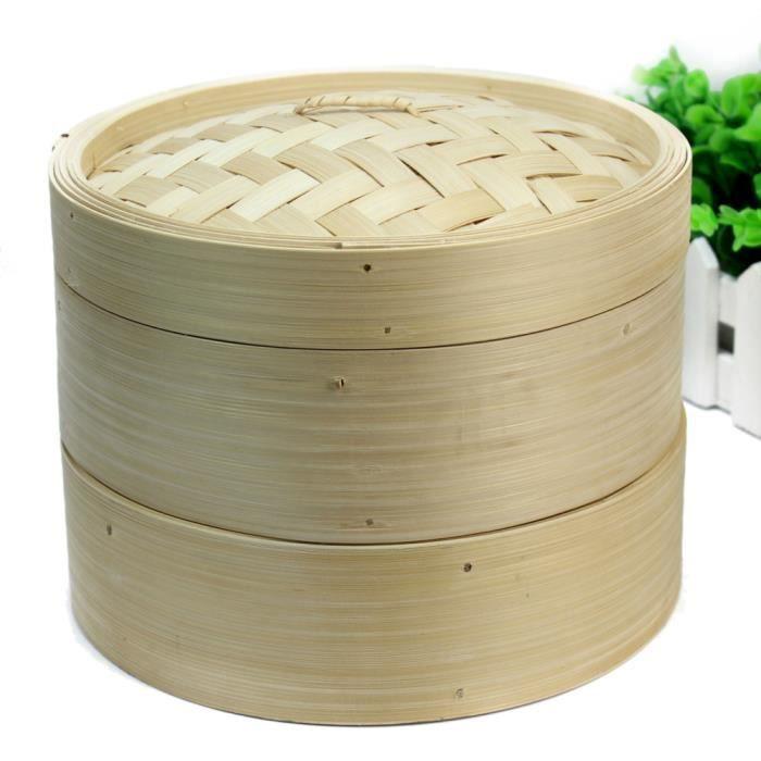 Vaisselle écologique Panier Vapeur Bambou Outil Maison Cuisine Et Couvercle