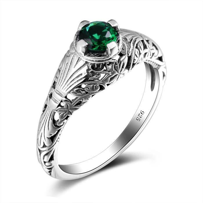 bijoux-Bague-Femme -1000-925 Argent- émeraude-Vert-Topaze-Mode or beau cadeau