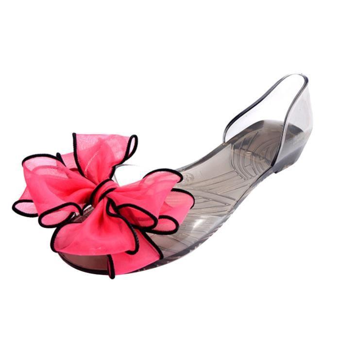 Femme Bowknot Sandales Fille Toes Ouvert Fleur PVC Sandales Pour Été HEE GRAND p0JJ0MS