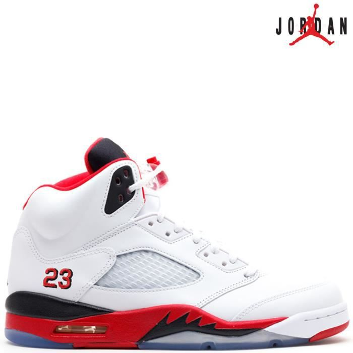 reputable site e6c46 62a75 BASKET Nike Air Jordan 5 Retro V 136027-120 FIRE RED 23 w