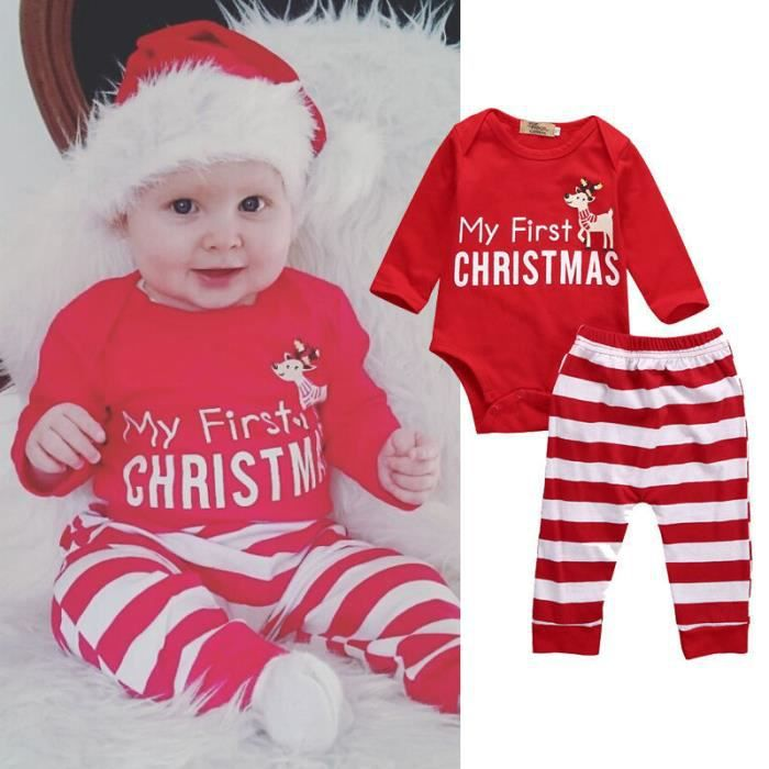 f22ba85f9c0e0 Tenue Noël Vêtement Pour Bébés Garçons Fille Combinaison 2PCS  Ensemble Barboteuse + Pantalon