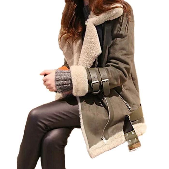 Veste hiver style motard femme