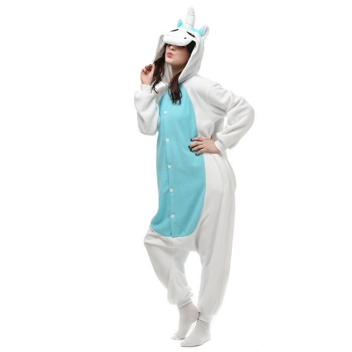 Homme fz048bleu Xfp Hiver Adulte Femme Licorne l Pyjama Animé Cosplay Kigurumi Bleu q4xBpwa