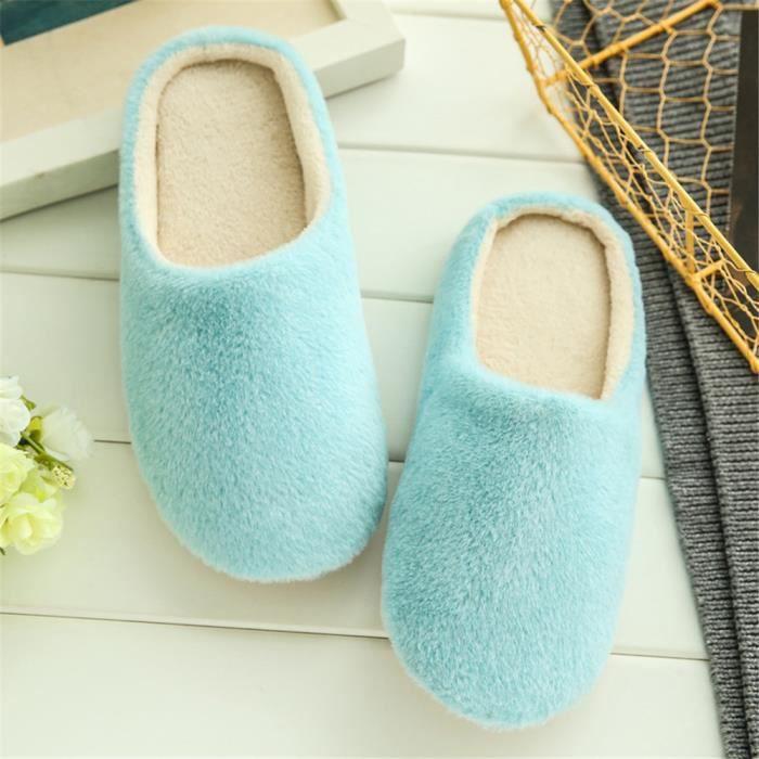 chausson femme Classique Série à domicile pantoufle femme chaud hiver peluche marque de luxe chaussure Plus De Couleur 36-43,bleu,40