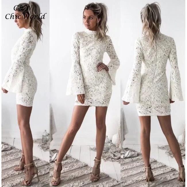 2018 Nouveau Court Blanc Robe en Dentelle Femme O Neck Slim Manche Longue Robe de Printemps Serré Sexy Robe de Bureau