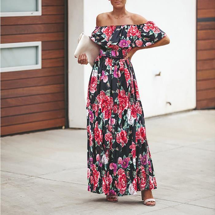 Longue Femmes Manches Moulante Encolure Noir Floral Élégante Robe tshCQdr