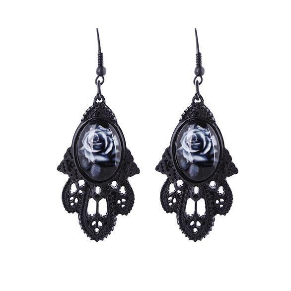 Boucles doreilles Rose grise avec motif architecture gothique noir