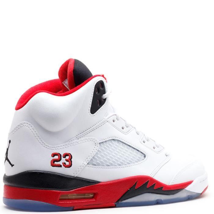 Nike Air Jordan 5 Retro V 136027-120 FIRE RED 23 white/fire red-black - Air Jordan 100% authentique a6LPdw