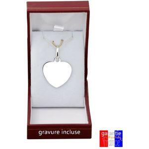 PARURE pendentif coeur en argent massif 925 à graver grav ... 851507d9fd5