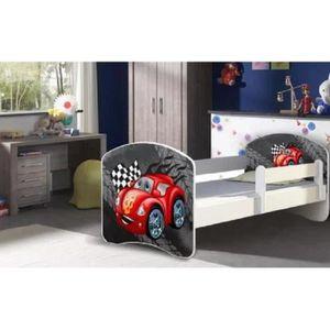 LIT COMPLET Lit enfant «mini voiture rouge» sommier et matelas
