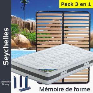 ENSEMBLE LITERIE Seychelles - Pack Matelas + Lattes 140x190 + Pieds