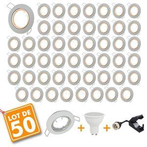 SPOTS - LIGNE DE SPOTS Lot de 50 Spot encastrable orientable blanc avec G