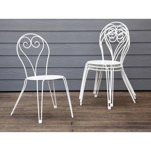 FAUTEUIL JARDIN  Chaise de jardin en acier romantique hauteur 90cm