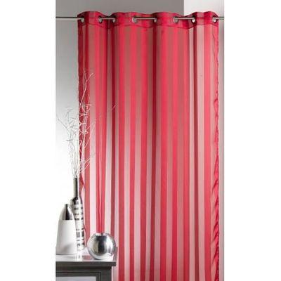 Voilage tissé à Rayures Rouge 140 x 250 cm - Achat / Vente rideau ...