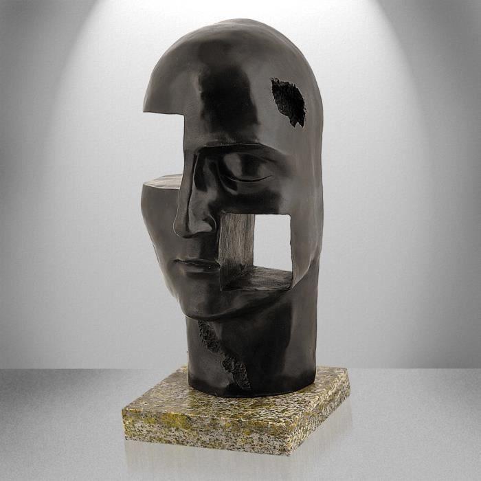 t te sculpture moderne en bronze patin avec base en marbre achat vente statue statuette. Black Bedroom Furniture Sets. Home Design Ideas
