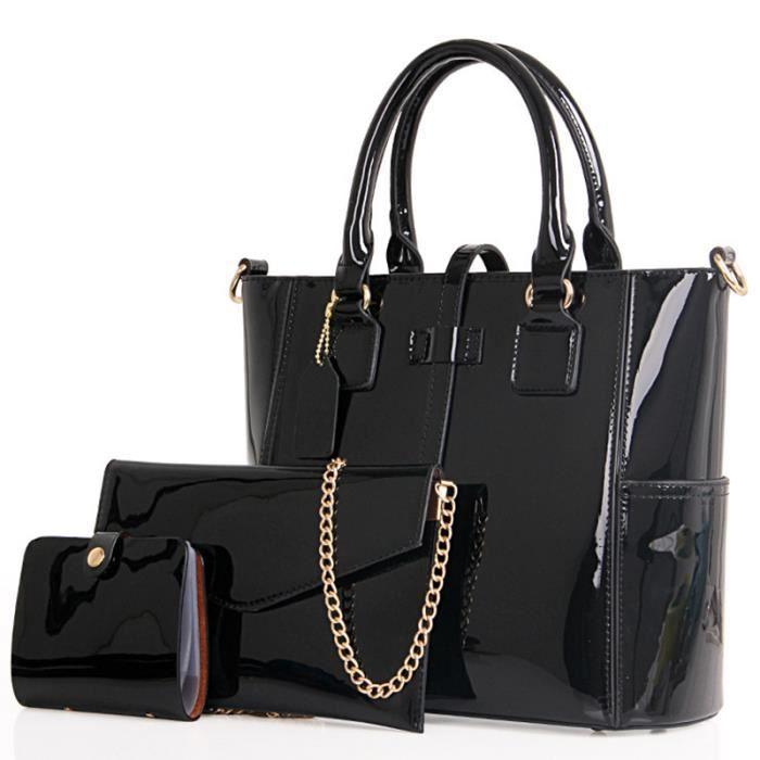 sac à main femme en cuir de luxe 2017 femmes sac marque célèbre les femmes Sacs chaîne 3 Ensembles Big Tote Taille-1303
